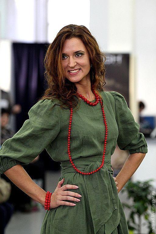 Платья ручной работы. Ярмарка Мастеров - ручная работа. Купить Платье женское льняное ЛЕСНАЯ ЯГОДА. Handmade. Тёмно-зелёный