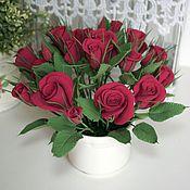 Цветы и флористика handmade. Livemaster - original item Bouquet of Lovely roses, Burgundy. Flowers polymer clay handmade. Handmade.