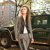 Одежда handmade. Livemaster - original item Novelty - Warm Trouser suit - black and white. Handmade.