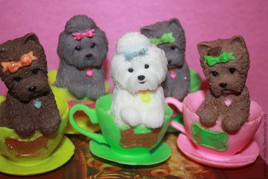 """Мыло ручной работы. Ярмарка Мастеров - ручная работа. Купить собаки из коллекции """"собачки в чашке"""" шитцу"""". Handmade. Разноцветный"""