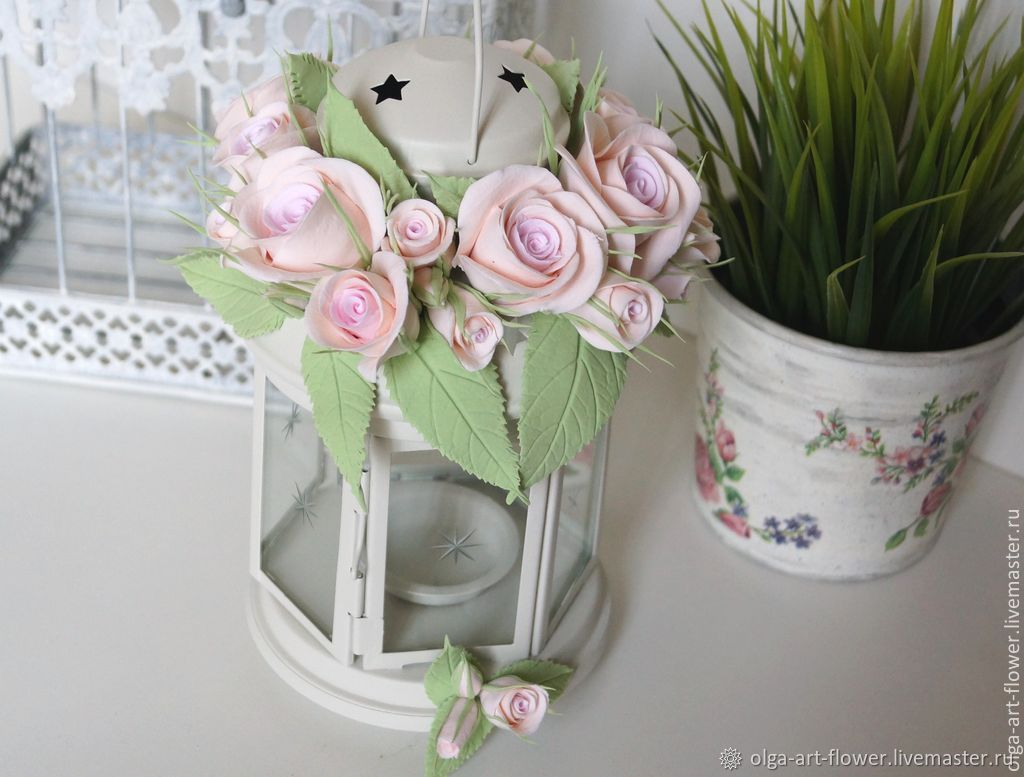 Wedding Flowers Online.Candle Holder With Roses For Wedding Flowers Polymer Clay Handmade Shop Online On Livemaster With Shipping 5ua61com Moscow
