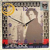 """Для дома и интерьера ручной работы. Ярмарка Мастеров - ручная работа Часы настенные """"Шерлок"""" квадратные. Handmade."""