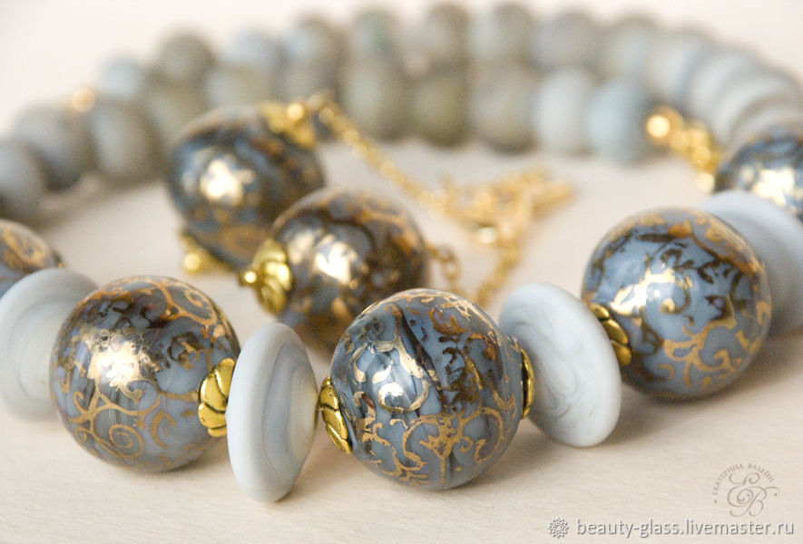 'Gray with gold': beads and earrings painted in gold, Jewelry Sets, St. Petersburg,  Фото №1