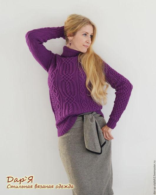 """Кофты и свитера ручной работы. Ярмарка Мастеров - ручная работа. Купить """"Герда"""" женский вязаный свитер с аранами. Handmade. Свитер"""