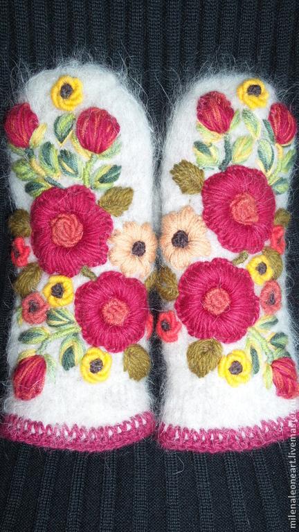 Варежки, митенки, перчатки ручной работы. Ярмарка Мастеров - ручная работа. Купить Варежки с вышивкой   Allegria. Handmade. Цветочный