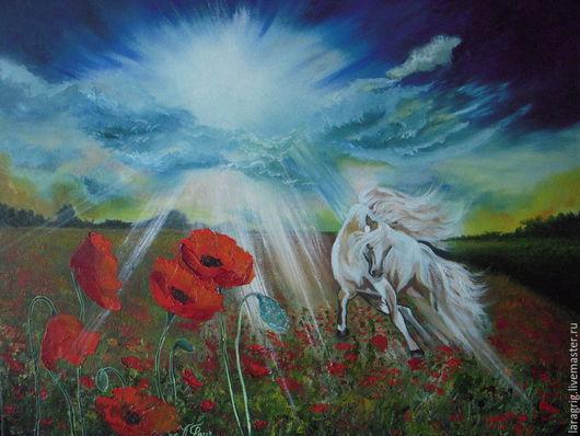 """Животные ручной работы. Ярмарка Мастеров - ручная работа. Купить """"Конь-Светлый Луч"""" - авторская работа Ларисы Григ. Handmade."""