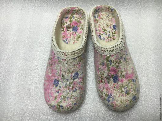 """Обувь ручной работы. Ярмарка Мастеров - ручная работа. Купить Тапочки валяные """"Прованс"""". Ручная работа. Handmade. Бледно-розовый"""
