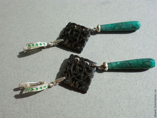 """Серьги ручной работы. Ярмарка Мастеров - ручная работа. Купить серьги """"Antique emerald"""". Handmade. Длинные серьги, коричневый, рог"""
