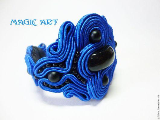 Браслеты ручной работы. Ярмарка Мастеров - ручная работа. Купить Браслет Волшебная синева. Сутажная вышивка. Handmade. Синий, бисер