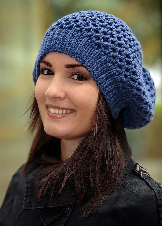 Шапка, шапки, женская шапка, женские шапки, , шапка вязаная, вязаная синяя шапка, шапки вязаные, вязаные шапки, шапки женские вязаные,  вязанные шапки, васильковый, синий, шапки зимние, шапки модные