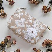 handmade. Livemaster - original item Zippered Cosmetic Bag with Lace White Flower. Handmade.