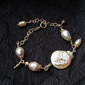 Украшения handmade. Livemaster - original item Bracelet made of gilded silver and Baroque pearls.. Handmade.