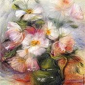 Картины и панно ручной работы. Ярмарка Мастеров - ручная работа Картина из шерсти Нежность. Белые и розовые маки. Handmade.