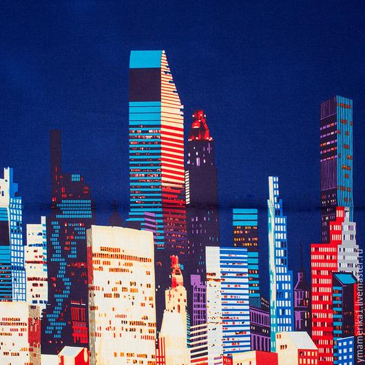 Шитье ручной работы. Ярмарка Мастеров - ручная работа. Купить Американский хлопок  АМЕРИКА.НЬЮ-ЙОРК на синем. Handmade.