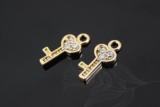 Подвеска-ключик из латуни с позолотой и фианитами, 5*12 мм. Фурнитура для украшений из Южной Кореи.