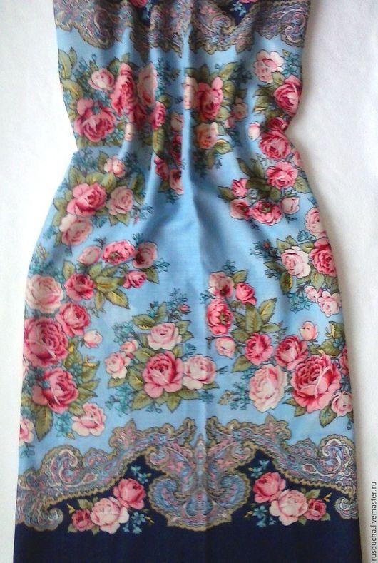 """Одежда для девочек, ручной работы. Ярмарка Мастеров - ручная работа. Купить Сарафан для девочки """"Лазурь"""" из павловопосадского платка. Handmade. Голубой"""