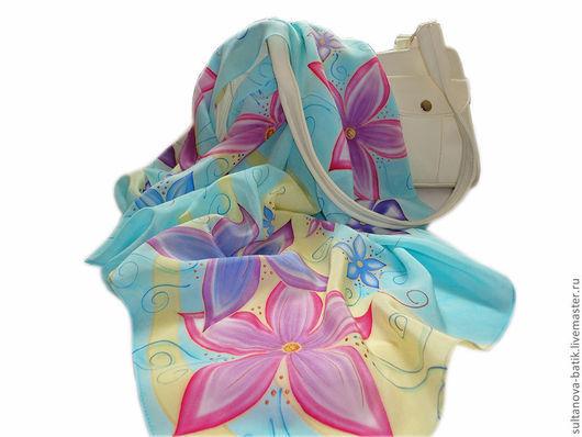"""Шали, палантины ручной работы. Ярмарка Мастеров - ручная работа. Купить платок батик """"Вальс цветов"""". Handmade. Бирюзовый"""