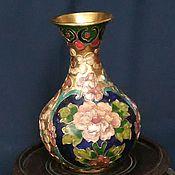 Винтажные предметы интерьера ручной работы. Ярмарка Мастеров - ручная работа Прекрасная ваза Клуазоне(cloisonne)  Китай. Handmade.
