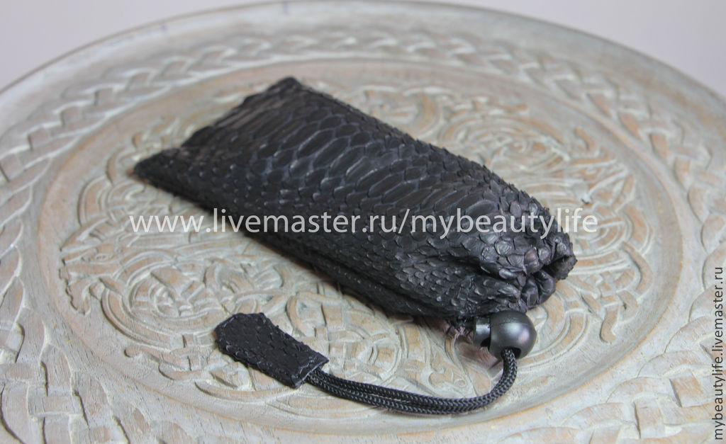 Чехол для очков из питона черный
