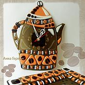 """Для дома и интерьера ручной работы. Ярмарка Мастеров - ручная работа """"Арабика"""", часы и тарелка. Handmade."""