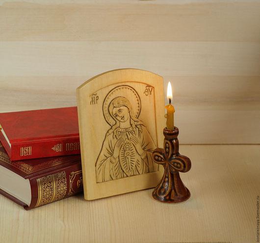`В родах помощница`  миниатюрная резная икона