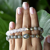 Украшения handmade. Livemaster - original item A set of bracelets from Labrador and quartz. Handmade.