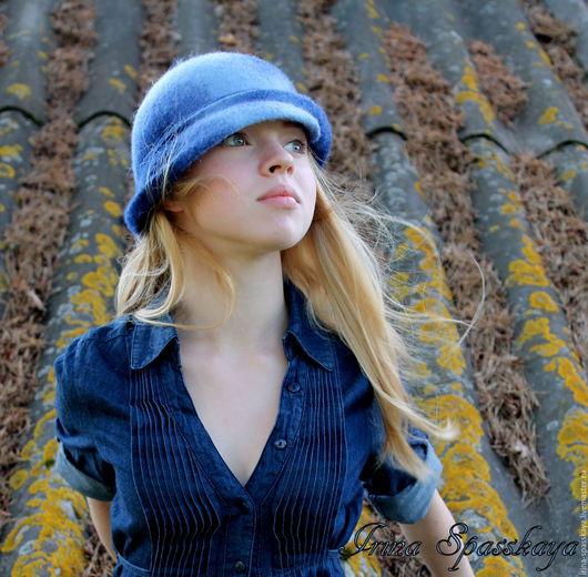 """Шляпы ручной работы. Ярмарка Мастеров - ручная работа. Купить Шляпка """"Погружение"""" из коллекции """"Начало"""". Handmade. Синий, войлок"""
