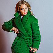 Одежда ручной работы. Ярмарка Мастеров - ручная работа Стеганое зеленое пальто-фуфайка. Handmade.