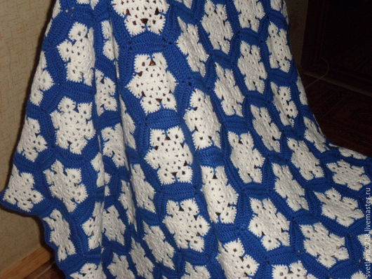 """Текстиль, ковры ручной работы. Ярмарка Мастеров - ручная работа. Купить Плед """"Первый снег"""". Handmade. Синий, плед для малыша"""