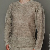 Одежда handmade. Livemaster - original item Classic men`s cardigan 100%linen yarn long sleeve. Handmade.