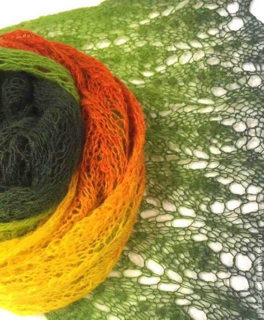 """Шарфы и шарфики ручной работы. Ярмарка Мастеров - ручная работа. Купить Шарф """"Листья"""" 100%шерсть. Handmade. Комбинированный, оранжевый, палантин"""