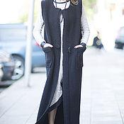 Одежда handmade. Livemaster - original item Black jacket coat sleeveless - VE0020WB. Handmade.