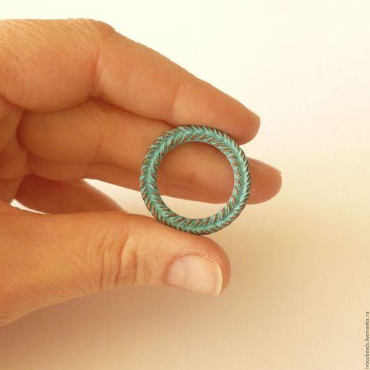 Для украшений ручной работы. Ярмарка Мастеров - ручная работа. Купить Крупный коннектор кольцо плетеное - патинированная медь. Handmade.