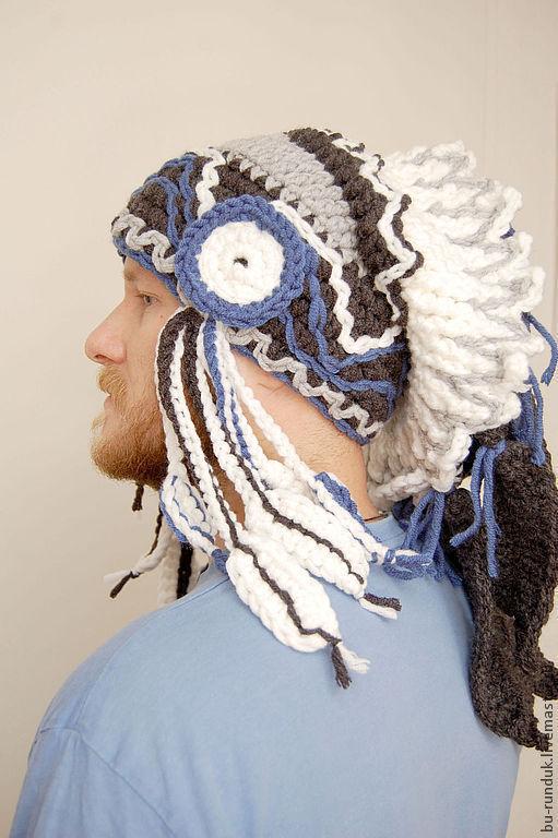 Шапки ручной работы. Ярмарка Мастеров - ручная работа. Купить шапка роуч - Шаман в синим. Handmade. Синий, шапка крючком