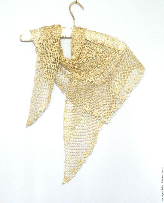 Шали, палантины ручной работы. Ярмарка Мастеров - ручная работа. Купить Небольшая летняя шаль из льна с шелком Солнечное утро. Handmade.