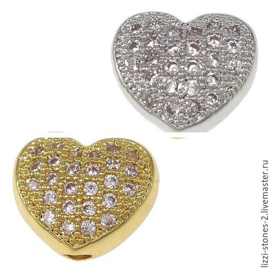Бусина сердце серебро и золото (Milano) Евгения (Lizzi-stones-2)