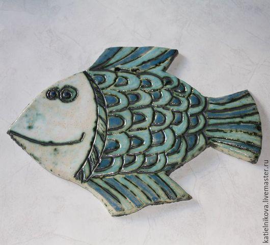 """Детская ручной работы. Ярмарка Мастеров - ручная работа. Купить Панно керамическое """"Рыбина"""". Handmade. Голубой, панно настенное"""