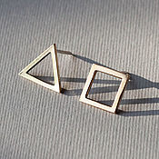 Украшения handmade. Livemaster - original item Bronze earrings with geometry in the style of minimalism to order. Handmade.
