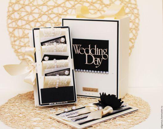 Свадебные открытки ручной работы. Ярмарка Мастеров - ручная работа. Купить Комплект на свадьбу (открытка, коробка для денег, пакет). Handmade.