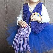 """Работы для детей, ручной работы. Ярмарка Мастеров - ручная работа Жилет для девочки """"Синий бриз"""". Handmade."""
