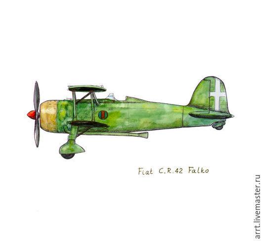 Детская ручной работы. Ярмарка Мастеров - ручная работа. Купить Зеленый самолет Принт Ретро аэроплан. Handmade. Зеленый, Австралия