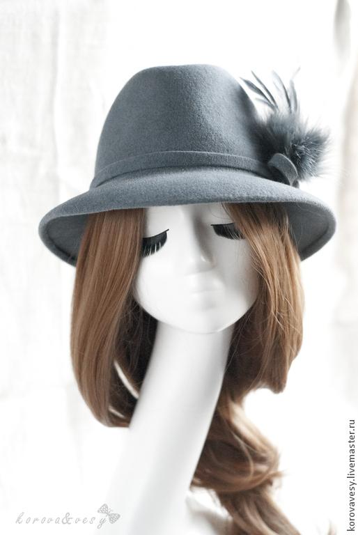 Шляпы ручной работы. Ярмарка Мастеров - ручная работа. Купить Серо-голубая шляпа-федора из велюра. Handmade. Серый