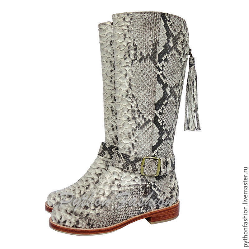 boots Python. Fashionable boots from Python zip. The boots with low heel. Fashionable women's shoes from Python custom. Women's boots of the Python with tassels. Stylish boots from Python. Snake skin.
