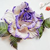 """Украшения ручной работы. Ярмарка Мастеров - ручная работа цветы из кожи, роза, брошь"""" Мечта"""" украшение. Handmade."""