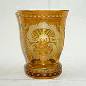 Винтаж handmade. Livemaster - original item VASE VASE AMBER Color glass ENAMEL carving EGERMANN EGERMANN. Handmade.