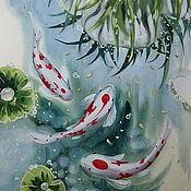 Картины и панно ручной работы. Ярмарка Мастеров - ручная работа Японские карпы. Handmade.