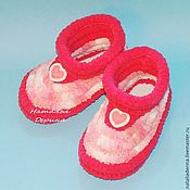 handmade. Livemaster - original item Knitted plush Slippers, Slippers soles. Handmade.