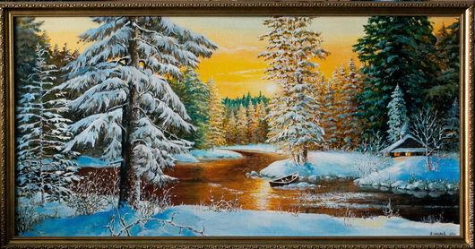 Картина маслом `Зимний закат`