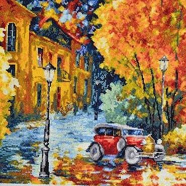 """Картины и панно ручной работы. Ярмарка Мастеров - ручная работа Вышитая картина """"Осенний марафон"""". Handmade."""