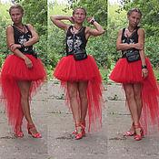 Одежда ручной работы. Ярмарка Мастеров - ручная работа Юбка из евро - фатина красная шлейф. Handmade.